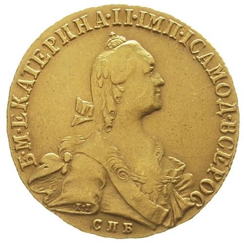 10 rubli 1766, Petersburg, złoto 13.01 g, Diakov 123