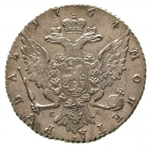 rubel 1764 / С-А, Petersburg, Diakov 51, ładnie zachowa...
