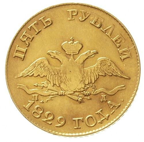 5 rubli 1829 / П-Д, Petersburg, złoto 6.45 g, Bitkin 4