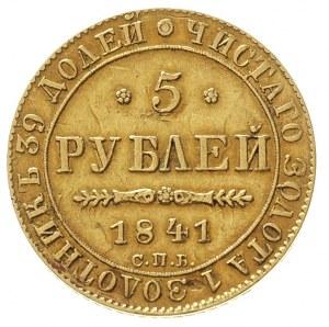 5 rubli 1841 / А-Ч, Petersburg, złoto 6.50 g, Bitkin 18...