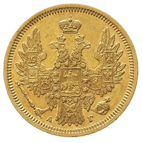 5 rubli 1852 / А-Г, Petersburg, złoto 6.53 g, Bitkin 35