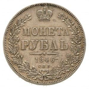 rubel 1846 / П-А, Petersburg, Bitkin 208, ślad po zawie...