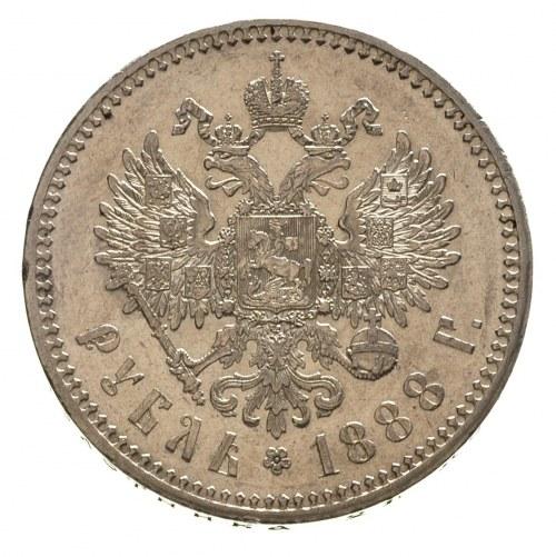 rubel 1888 / А-Г, Petersburg, Bitkin 71, ładne lustro m...