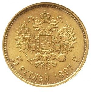5 rubli 1897 / А-Г, Petersburg, złoto 4.30 g, Kazakov 7...