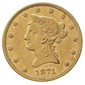10 dolarów 1871 / CC, nakład tylko 8085 sztuk, złoto 16...