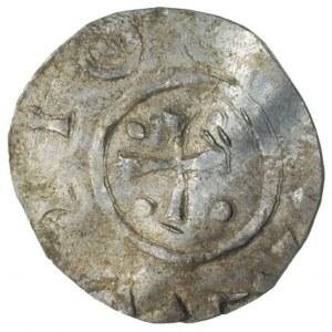 Bolesław Chrobry 992-1025, denar, Aw: Krzyż prosty z cz...