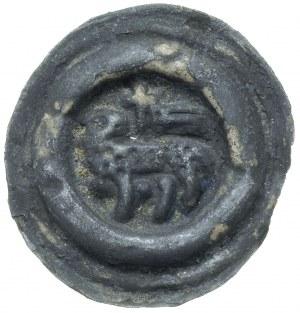 szeroki brakteat (2 poł. XIII w); Baranek stojący w lew...
