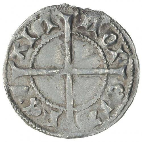 szeląg 1434-1450, Rewal, Aw: Krzyż w tarczy, wokoło MAG...