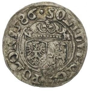 szeląg 1586, Olkusz, litery N-H po bokach korony, patyn...