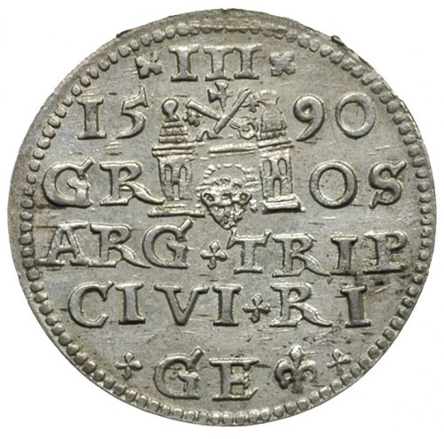 trojak 1590, Ryga, awers Iger R.90.1.c, rewers Iger R.9...