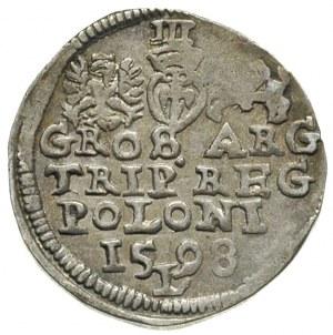 trojak 1598, Lublin, litera L dzieli cyfry daty 5 i 9, ...