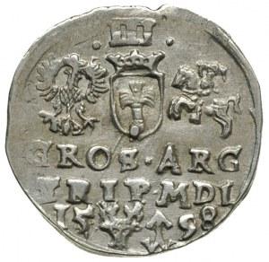 trojak 1598, Wilno, znak głowa wołowa i herb Chalecki, ...