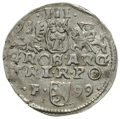 trojak 1599, Wschowa, litera F z lewej strony herbu Lew...
