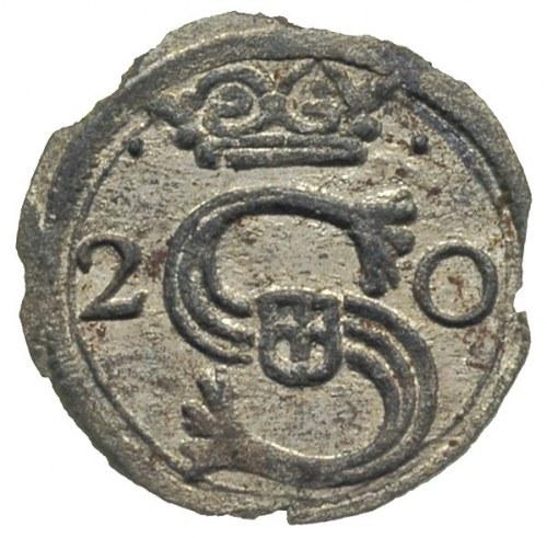 denar 1620, Kraków, Aw: Monogram i data 2 - 0, Rw: Tarc...