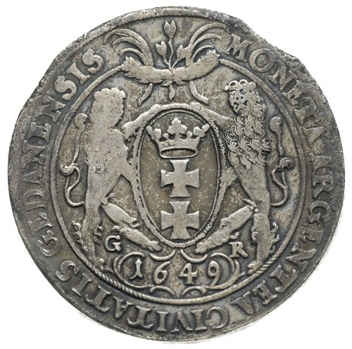 talar 1649, Gdańsk, odmiana z małą głową króla, srebro ...