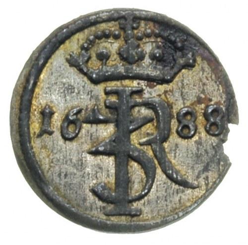 szeląg 1688, Gdańsk, rzadka moneta z ładnym blaskiem me...