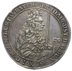 talar 1697, Drezno, Aw: Popiersie króla z mieczem w pra...