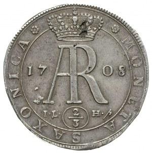 2/3 talara (gulden) 1708, Drezno, z popiersiem króla na...
