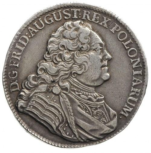 2/3 talara (gulden) 1738, Drezno, Dav. 830, wada blachy...