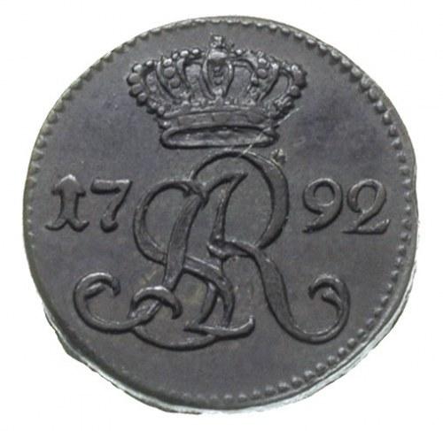szeląg 1792, Warszawa, Plage 8, T. 6, piękna patyna, ba...