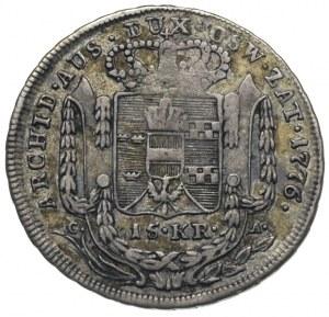 15 krajcarów 1776, Wiedeń, Plage 3, patyna