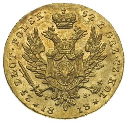 25 złotych 1818, Warszawa, złoto 4,89 g, Plage 12, Bitk...