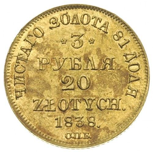 3 ruble = 20 złotych 1838, Petersburg, złoto 3,93 g, Pl...