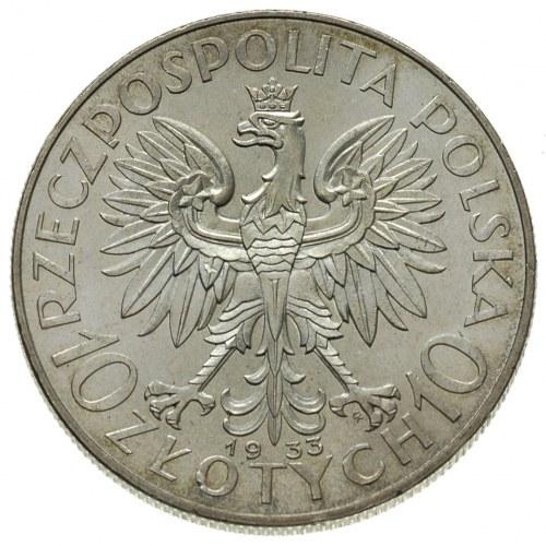 10 złotych 1933, Warszawa, Głowa Kobiety, Parchimowicz ...
