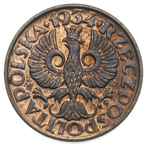 2 grosze 1934, Warszawa, Parchimowicz 102.i, bardzo ład...