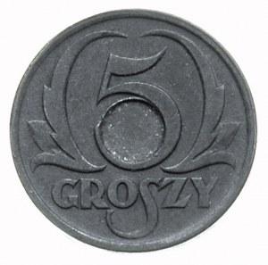5 groszy 1939, Warszawa, moneta \bez otworu\ z wyraźni...