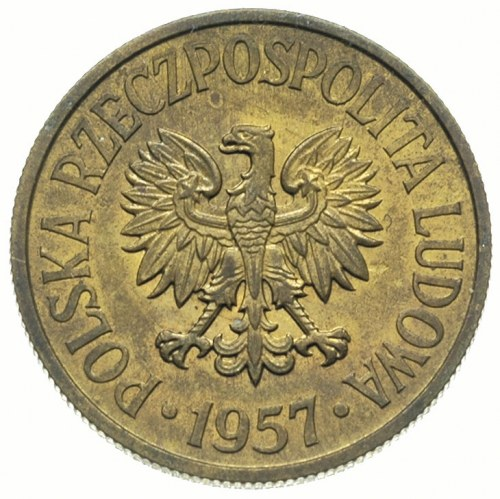 50 groszy 1957, na rewersie wklęsły napis PRÓBA, mosiąd...