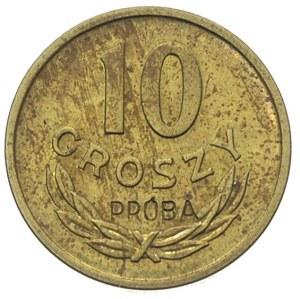 10 groszy 1949, na rewersie wklęsły napis PRÓBA, mosiąd...