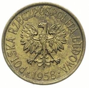 5 groszy 1958, na rewersie wklęsły napis PRÓBA, mosiądz...