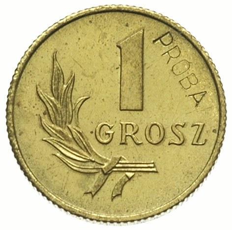 1 grosz 1949, na rewersie wklęsły napis PRÓBA, mosiądz ...
