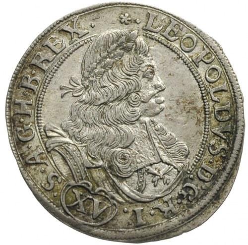 15 krajcarów 1677, Brzeg, litery C-B, FuS 724, rzadkie,...