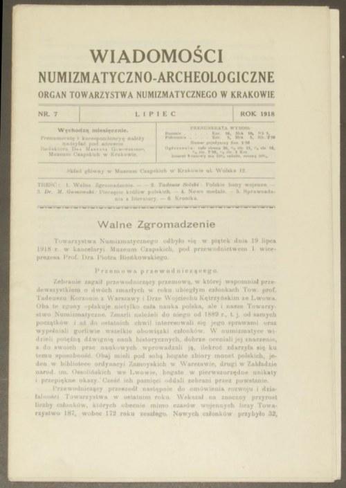 Wiadomości Numizmatyczno - Archeologiczne, rok 1918, ze...
