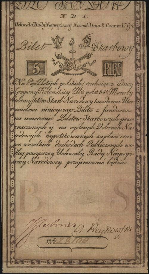 5 złotych 8.06.1794, seria N.D.1, Miłczak A1a2, Lucow 5...