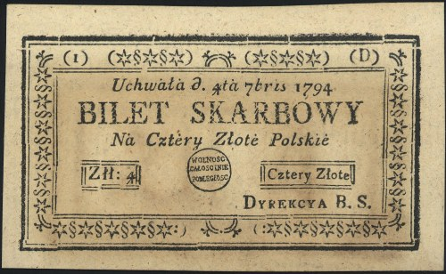 4 złote polskie 4.09.1794, seria 1-D, Miłczak A11a, Luc...