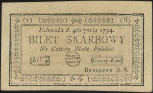4 złote polskie 4.09.1794, seria 1-H, Miłczak A11a, Luc...