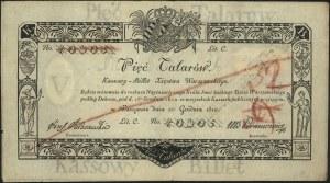 5 talarów 1.12.1810, podpis komisarza: Józef Jaraczewsk...