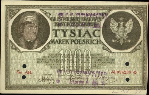 fałszerstwo 1.000 marek polskich 17.05.1919, seria AB, ...