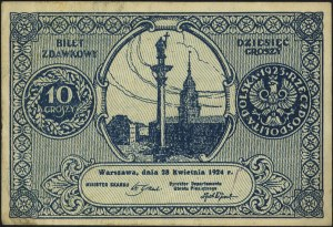 10 (II), 20 (I) i 50 (I-) groszy 28.04.1924, Miłczak 44...