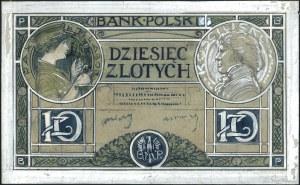 projekt awersu i rewersu banknotu 10 złotych 1919, na d...