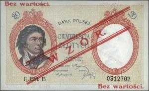 20 złotych 15.07.1924, II Emisja B, WZÓR, bez perforacj...