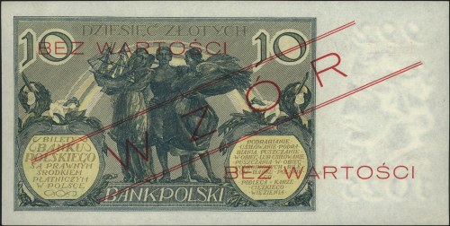 10 złotych 10.07.1926, seria V 0245678, WZÓR, wariant z...