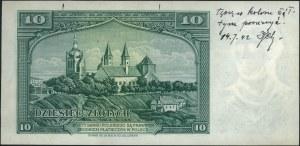 10 złotych 15.08.1939, seria A 000000, I wersja banknot...