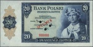 20 złotych 20.08.1939, WZÓR, trzykrotnie perforowany, b...