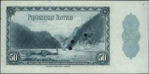 50 złotych 20.08.1939, WZÓR, trzykrotnie perforowany, b...