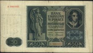 50 złotych 1.03.1940, seria A, z nadrukiem \A.-K. / Reg...