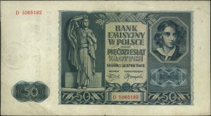 50 złotych 1.03.1941, seria D, z nadrukiem \OKRĘG WARSZ...